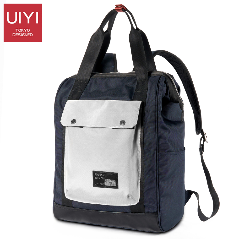 UIYI Polyester Men Backpack Blue White College Style Boy school bag 14 inch laptop bag men's bag high quality backpack # UYB7034 14 15 15 6 inch flax linen laptop notebook backpack bags case school backpack for travel shopping climbing men women