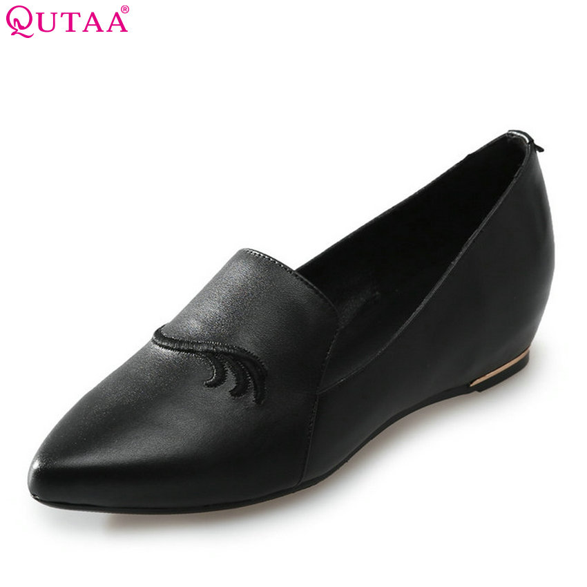 QUTAA 2018 Women Pumps Genuine Leather Fashion Women Shoes Slip on Shallow Wedges Heel Cashal All Match Ladies Pumps Size 34-39 women genuine leather platform wedges shoes ladies shallow mouth slip on high heels wedge shoes fashion cow leather mother shoes