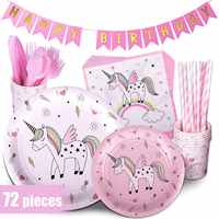 Unicorn Theme Happy Birthday Party Decoration Set Party Tableware Paper Plate Party Supplies Decorations Wedding Event Favors