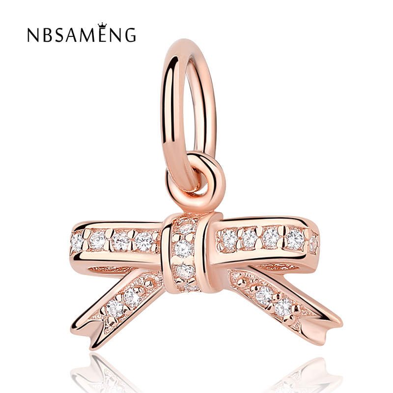925 Sterling Silver Rose Gold Color & Clear CZ Sparkling Bow Tie Pendant Charm Fit Pandora Bracelets & Bangles DIY Jewelry