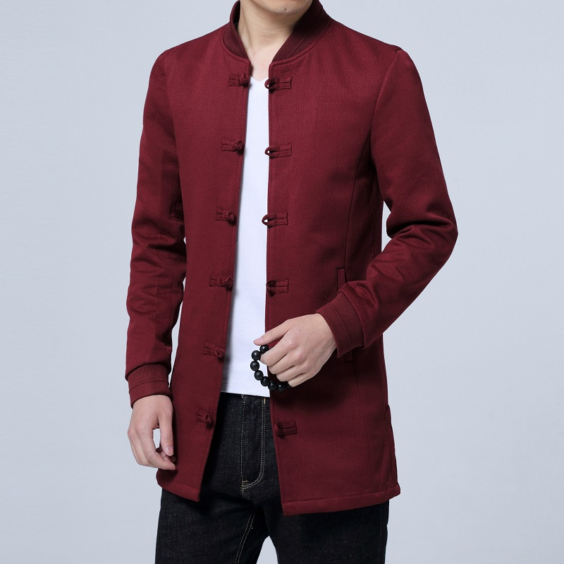 Pure Color Single breasted Long sleeved Jackets Mens Chinese Retro Style Men Coats Slim Fit Jacket Male Large Size S 5XL