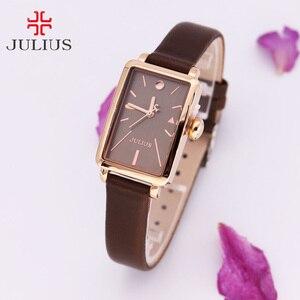 Image 1 - Nieuwe Vrouwen Horloge Japan Quartz Uur Fijne Eenvoudige Top Mode Jurk Lederen Armband Klok Meisje Verjaardagscadeau Julius 941 geen Doos