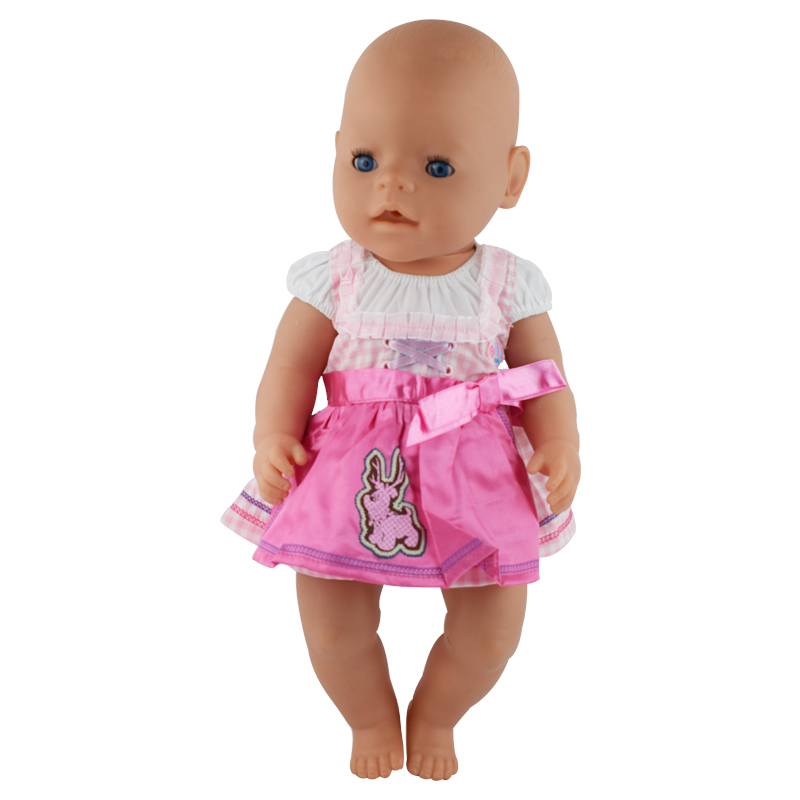 Doll Accessories,pink dress Doll Clothes Wear fit 43cm Baby Born zapf, Children best Birthday Gift(only doll dress)