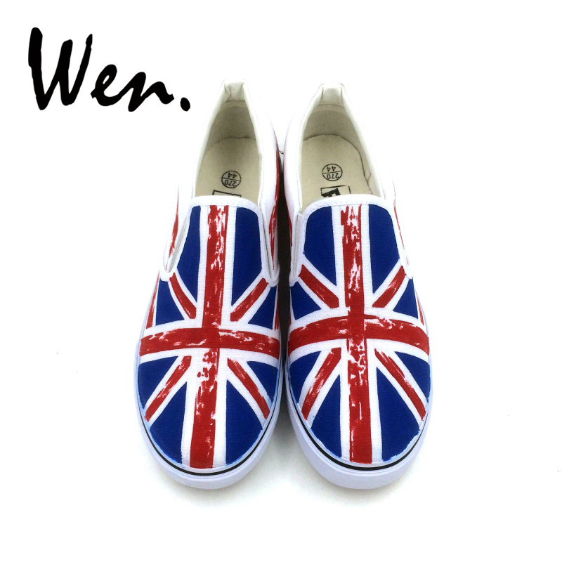 Wen Low Top Platform Sneakers Slip on Shoes Hand Painted Union Jack Flag Men Casual Shoes