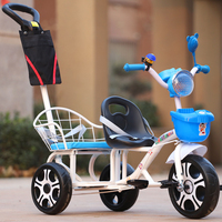 Twins kids tricycle twins baby bicycle handle control tandem trike with fold foot rest
