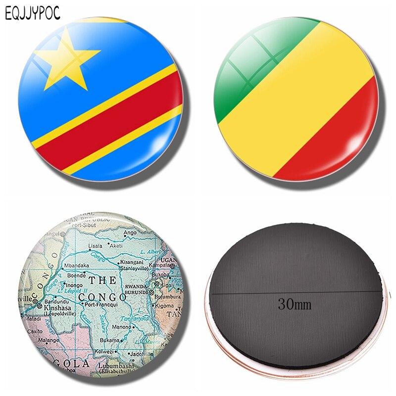 Demokratischen Republik Kongo Flagge Kühlschrank Magnet Kinshasa Cananga Karte Glas Magnetischen Kühlschrank Aufkleber Halter Home Decor