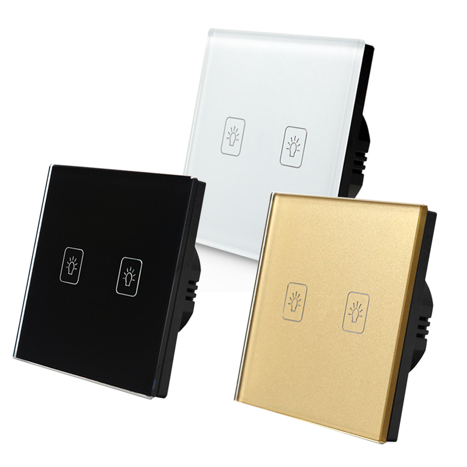 EU Standard Touch Switch 2 Gang 2 Way Crystal Glass panel,Light Switch ,Touch Screen wall switch,wall socket for lamp smart home us au wall touch switch white crystal glass panel 1 gang 1 way power light wall touch switch used for led waterproof
