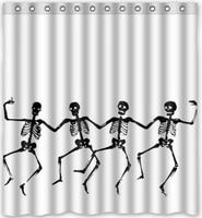 Custom Skull Skeleton Dance Halloween Shower Curtain 60 X 72 Bathroom Decor Fabric