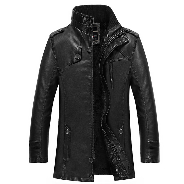 New Stand Collar Thick Warm Winter Coats Mens High Quality Velet Lining Leather Jacket Long Man