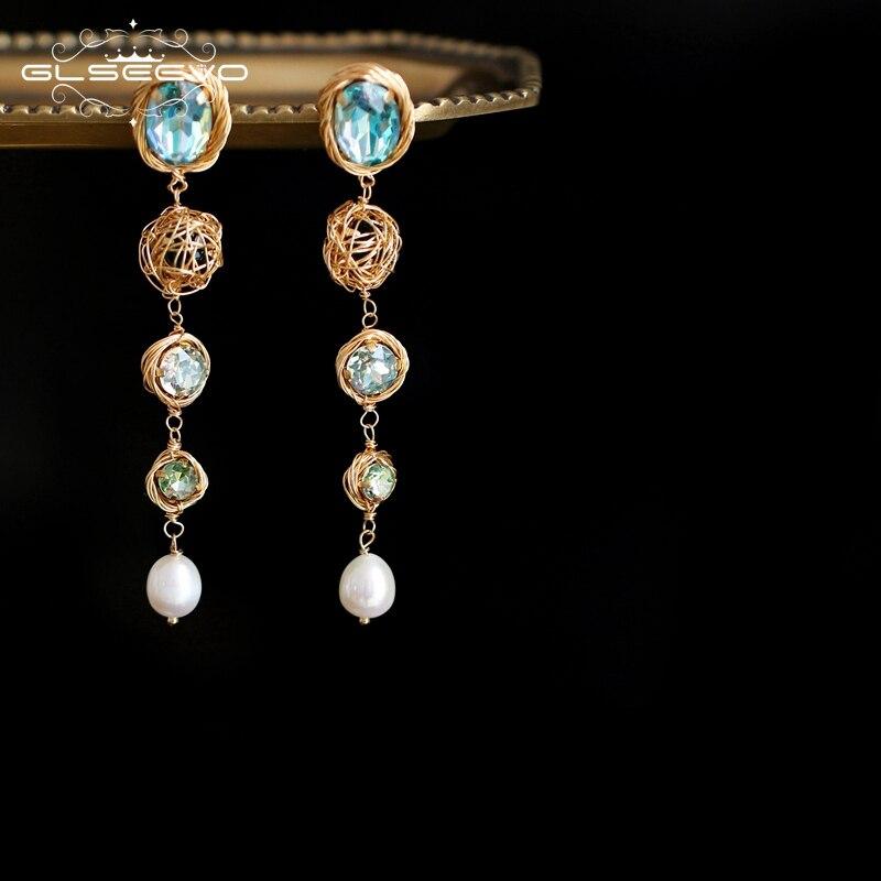 GLSEEVO Natural Fresh Water Pearl Handmade Colorful Stone Drop Earrings For Women Bride Wedding Party Jewelry Bijoux GE0723