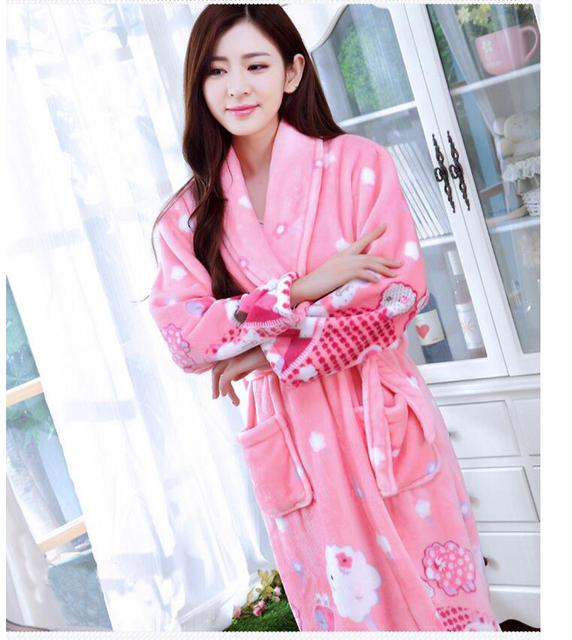 pajamas bathrobe nightgown and thick flannel long sleeved autumn winter coral fleece cute  women design