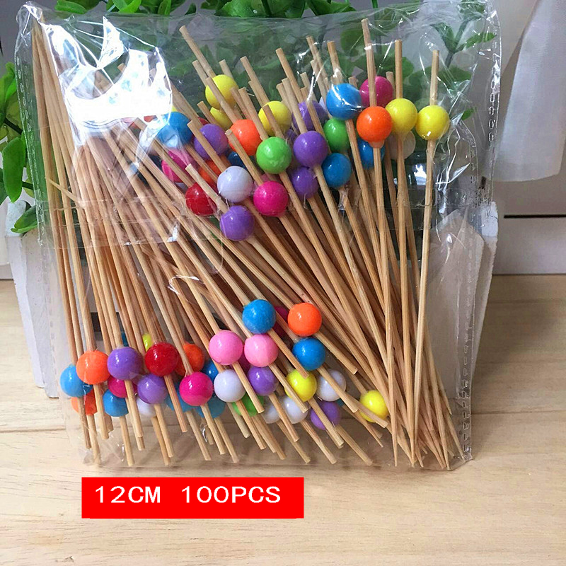 100pcs 12 cm Chinese bamboo craft fruit fireworks toothpick interesting dessert cocktail sign wedding decorative party supplies
