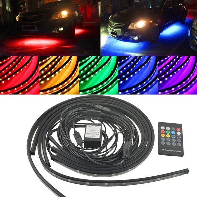 4pcs 5050 SMD RGB LED Strip 12V DC Under Auto Car Tube Underglow Underbody System Light Tube Kit Waterproof Wireless Control