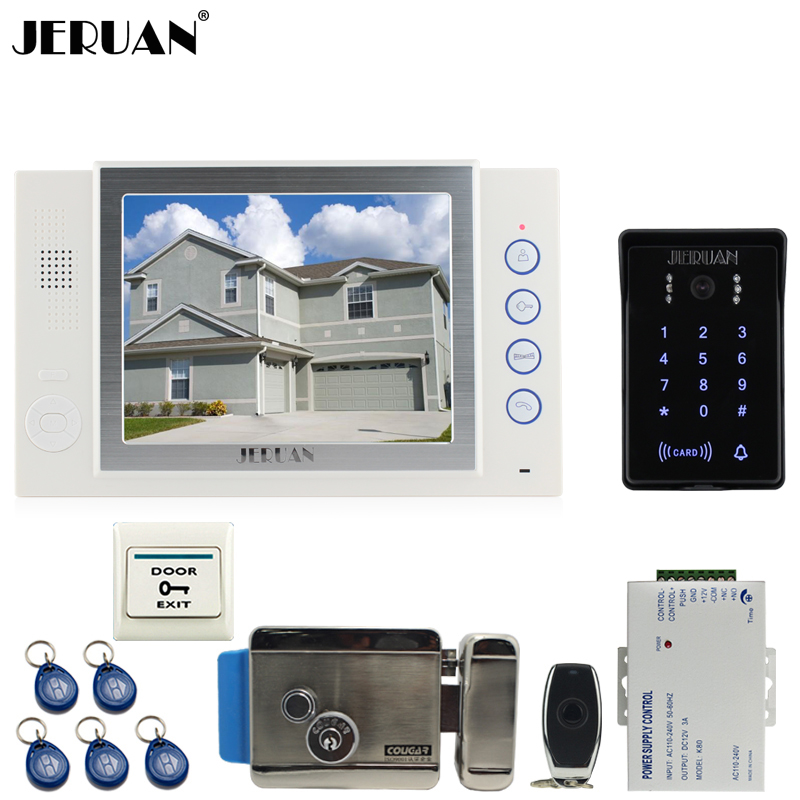 JERUAN 8`` LCD video door phone Recording intercom system New RFID waterproof Touch Key password keypad Camera 8G SD Card E-LOCK jeruan 7 lcd video door phone record intercom system 3 monitor new rfid waterproof touch key password keypad camera 8g sd card