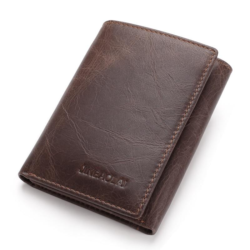 Marca dos Homens do Vintage Carteira de Couro Titular do Cartão Bolsa de Dinheiro para o Sexo Jinbaolai Genuíno Homem Pequeno Bolsa Masculino