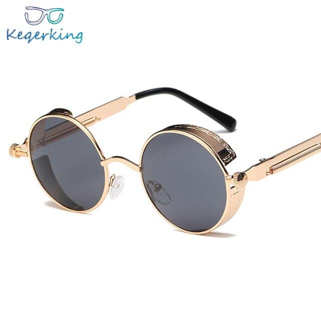 a3d3b9a4d1 Ronda de gafas de sol de Metal Steampunk hombres mujeres moda gafas de  marca diseño Retro marco Vintage gafas de sol de alta calidad UV400