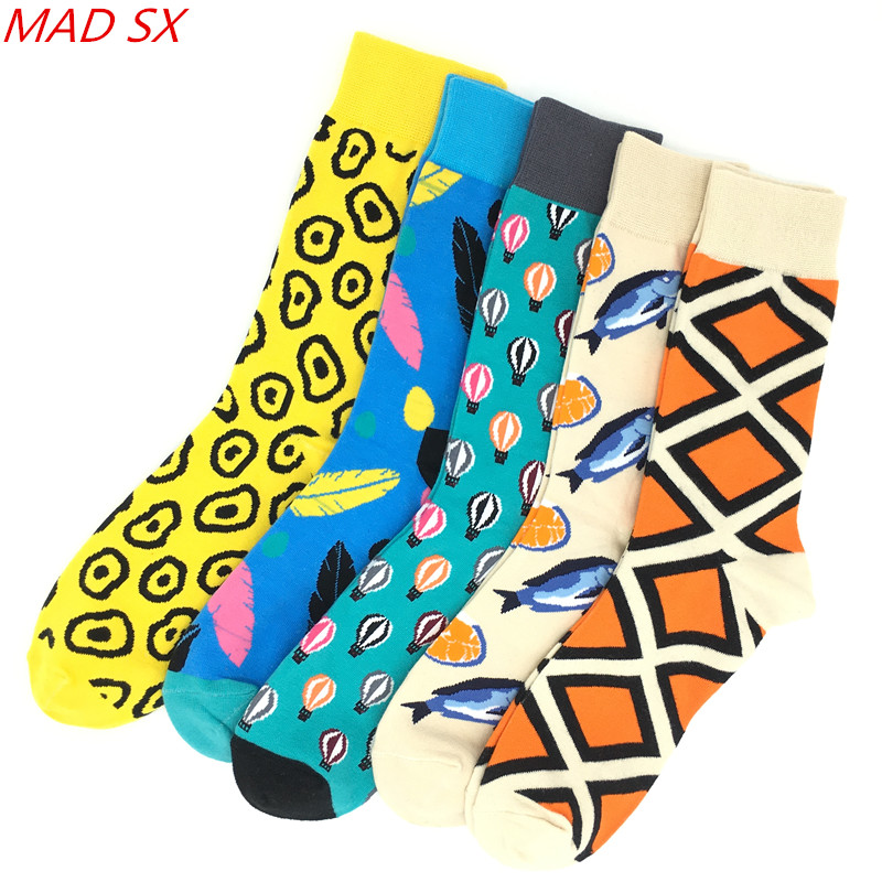 Underwear & Sleepwears Objective 5 Pair/lot Colorful Men Happy Socks Fashion Collocation Style Novel Casual Dress Socks Funny Party Cotton Socks Wedding Socks Beautiful And Charming