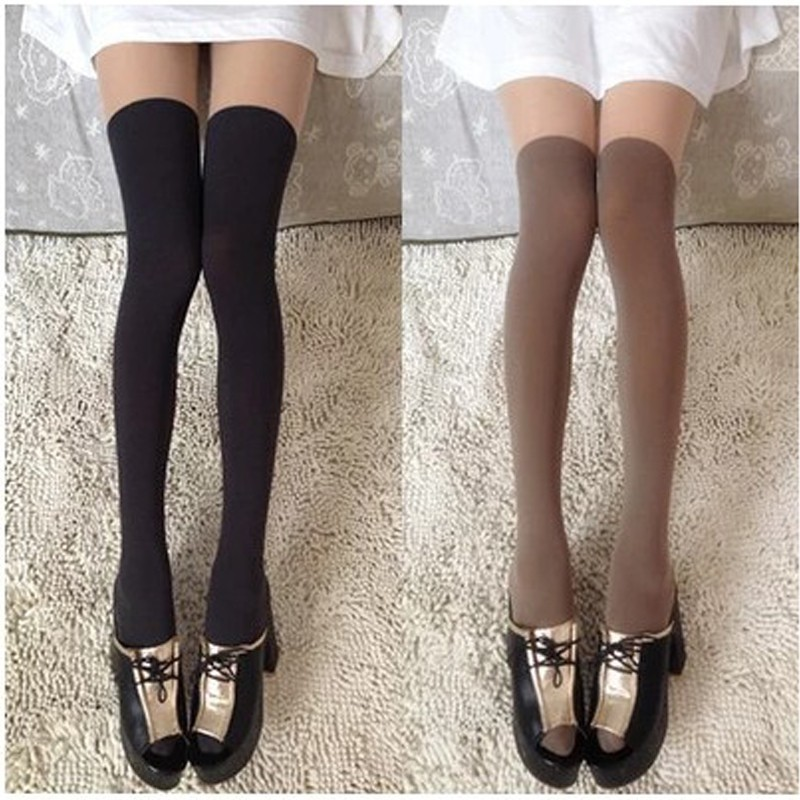Sexy Black Velvet Thigh Over Knee Socks Pure High Socks For Japanese Students Fashion Ultrathin Lace In Spring And Autumn