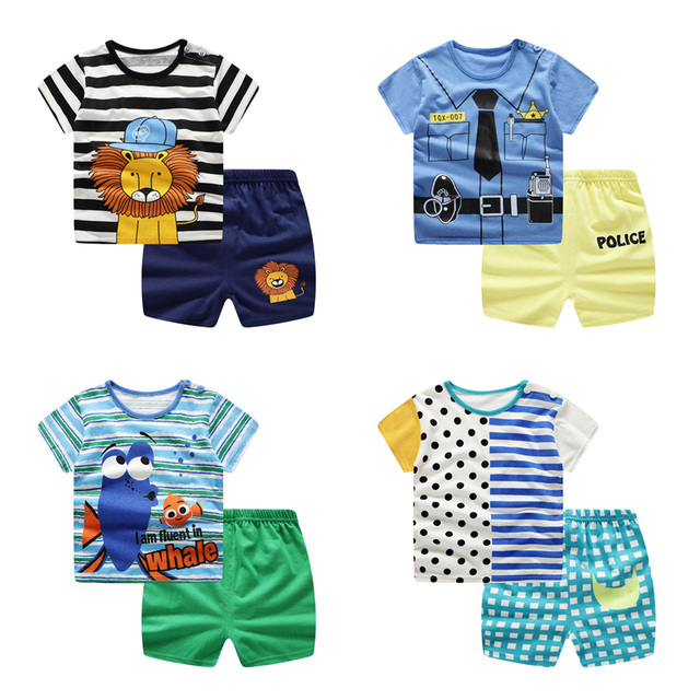 2019 New summer baby costume fashion cartoon print baby boys & girls clothes sets cotton 0-2Y clothing sets for baby boys girls 1