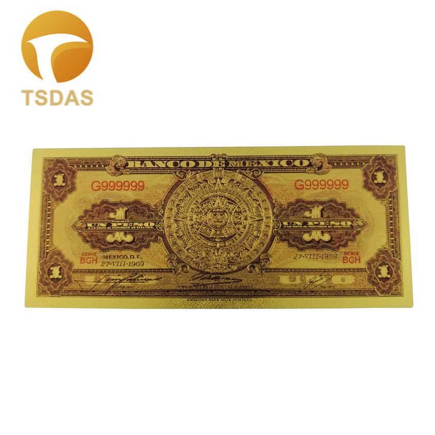 1969 Year Mexico Gold Banknotes 1 Dollar Banknote 24K Gold Leaf Bank Note Nice Business Christmas Gifts