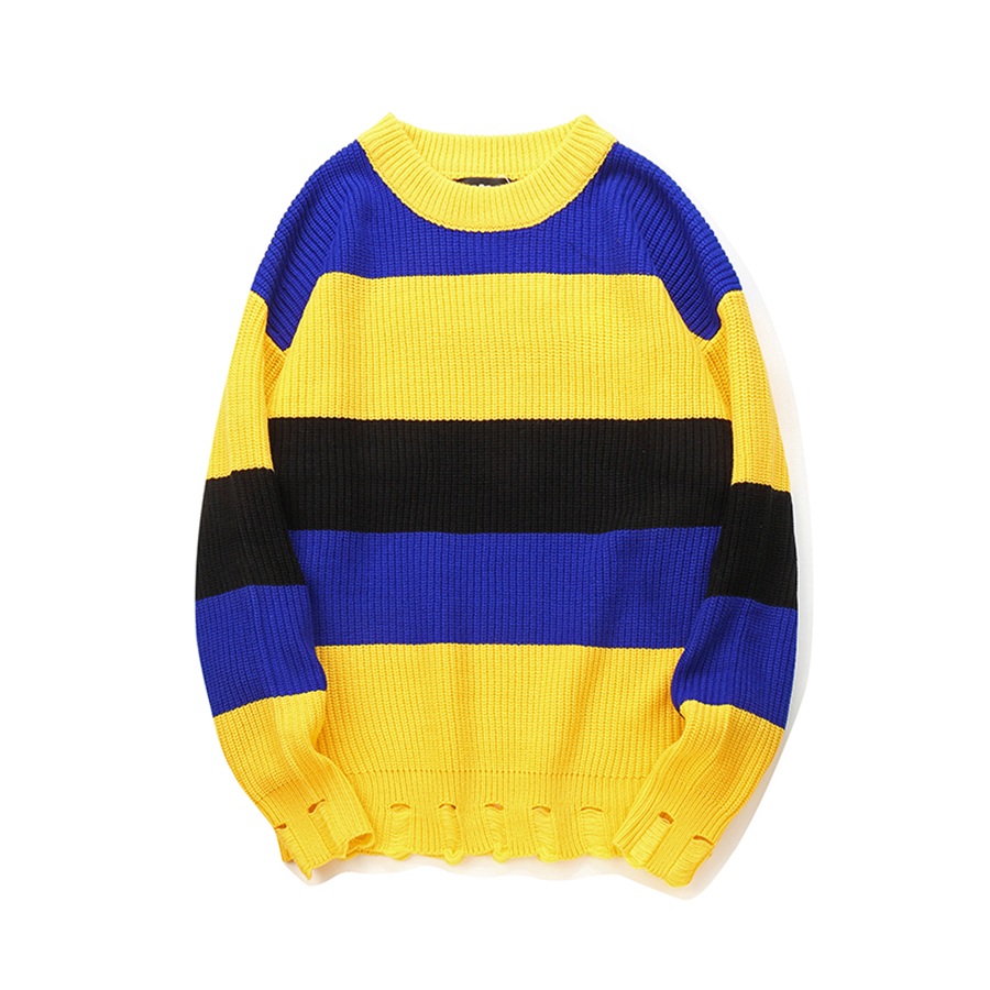 Men Sweater Hipster Street Crew Neck Color Block Patchwork Striped Pullover Sweaters Mens Hip Hop Ripped Streetwear Jumper Male