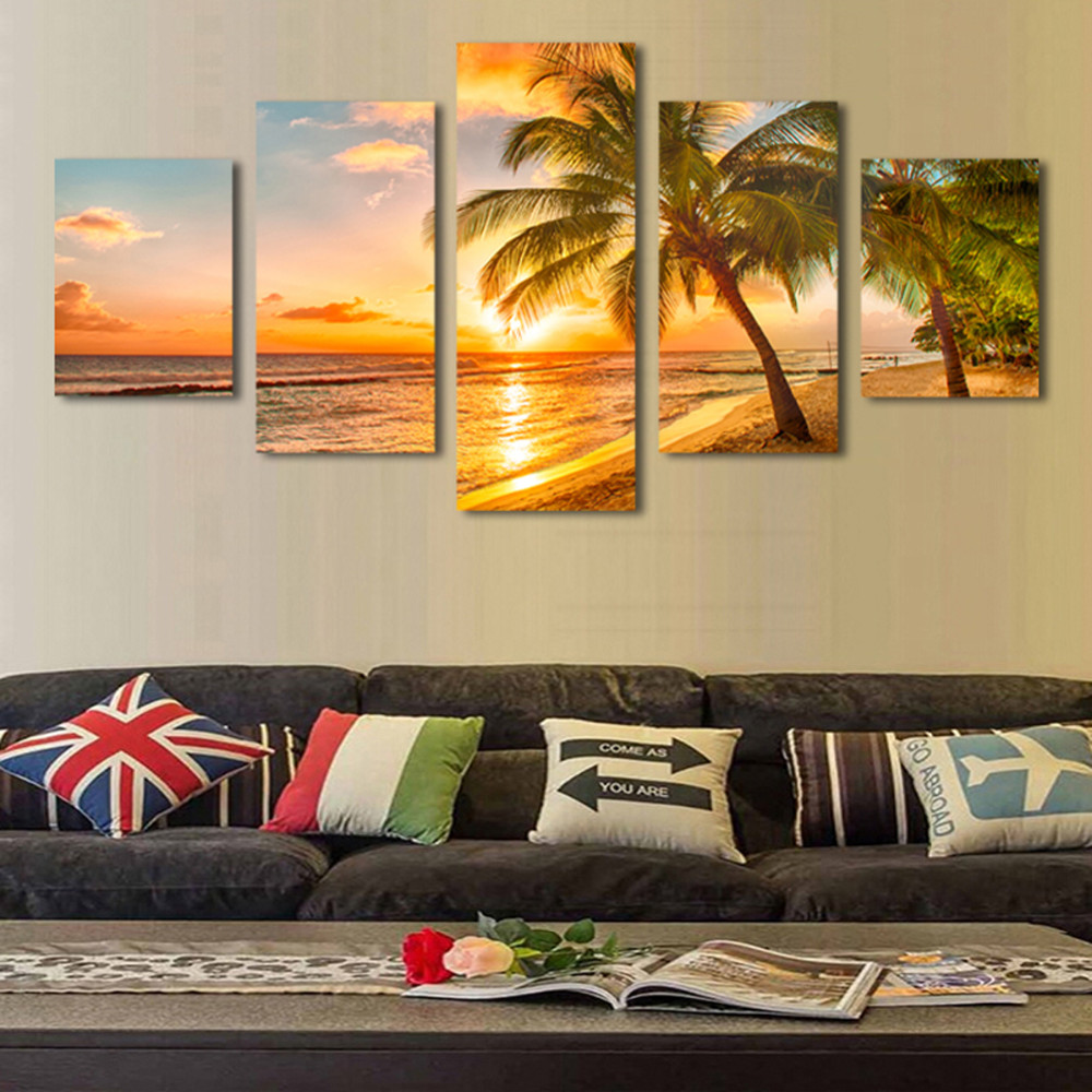 5pcs Print poster canvas Wall Art Sunrise sea coconut trees art oil ...