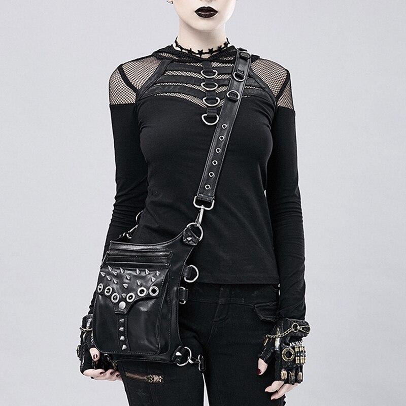 Bolsa da Cintura de Couro Bolsas de Perna Legal Bolsa Crossbody Preto Retro Rocha Steampunk Homens Mulheres Gothic Black Fanny Packs Moda Motocicleta