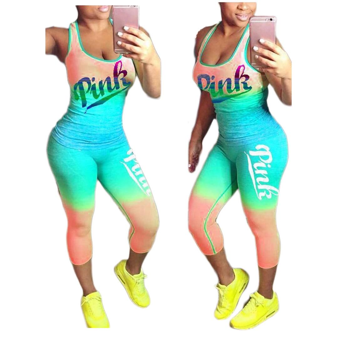 Image 5 - Sexy 2 Pieces Sets Women Sporting Tracksuit Tank Tops+ Pants Plus Size Xxxl Summer Pink Letter Print Sets Cotton Blend T ShirtWomens Sets   -