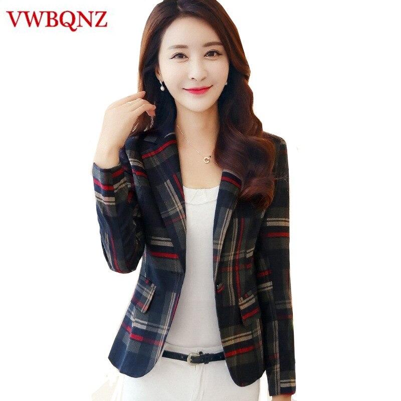 Women Plaid Business Suits Spring Autumn Single Button Female Blazers Jackets Short Slim Plaid Blazer Women Suit Plus Size 3XL