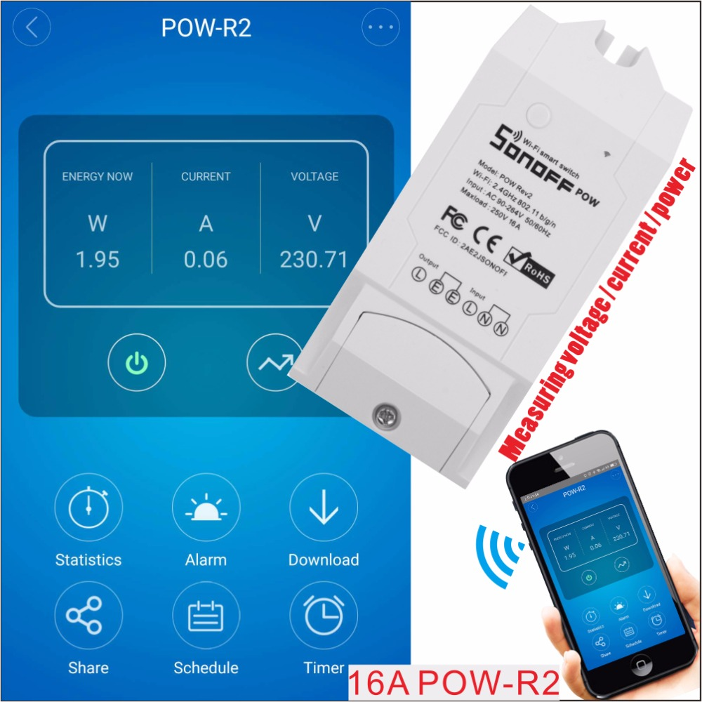 Sonoff Pow R2 16A Wifi Smart Switch Monitor Energy Usage Smart Home Power Measuring Wi-fi Switch APP Control Works With Alexa high quanlity s31 us 16a mini wifi smart socket home power consumption measure monitor energy usage app remote ifttt control hot