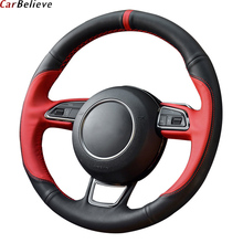 Car Believe Genuine Leather car steering wheel cover For audi a5 sportback a3 8p Q3 Q5 Q7 A4 A6 steering wheel car accessories цена