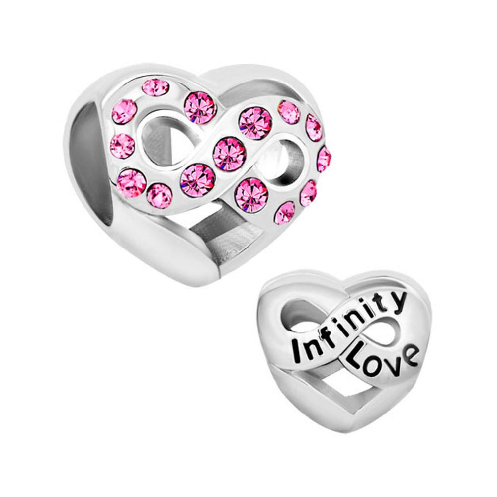 Pink Crystal Infinity Love Charm Beads