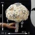 2016 люкс кристаллы свадебный букет невесты аксессуары букет noiva искусственный продаж ручной роза рука цветы
