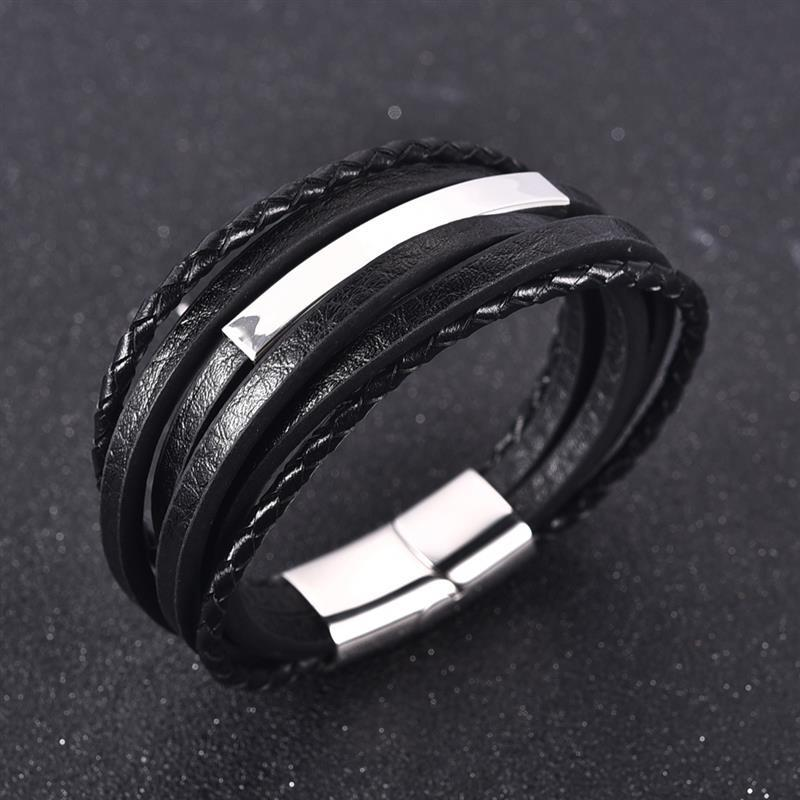Jiayiqi Punk Men Multilayered Braided Leather Bracelet Stainless Steel Magnetic Clasp Fashion Jewelry Bangles