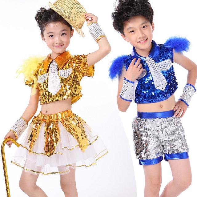 7890d89c04b3 KIDS Paillette Sequins morden Jazz dance Clothes Girls Modern dance ...