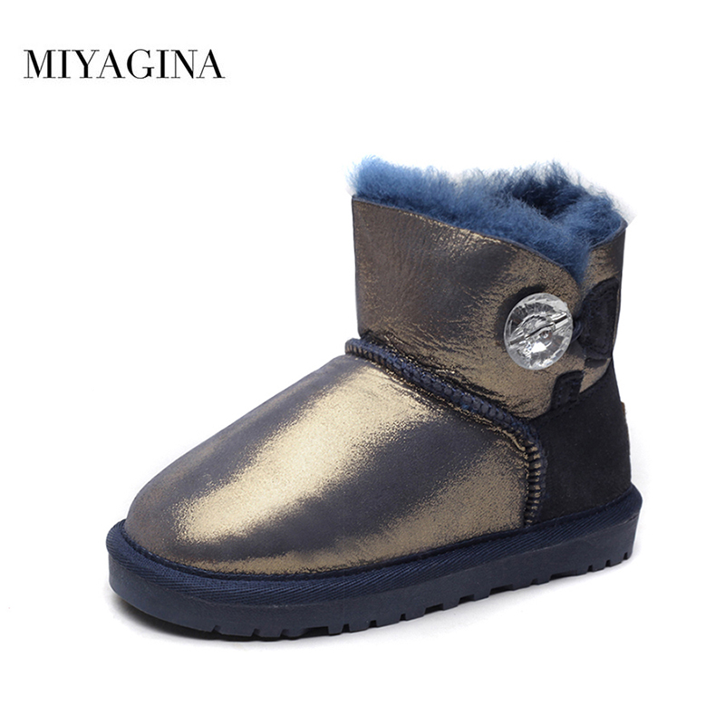 MIYAGINA Kids 2018 New Fashion 100% Genuine Sheepskin Leather Winter Boys Girls Snow Boots Children Natural Fur Warm Ankle Boots