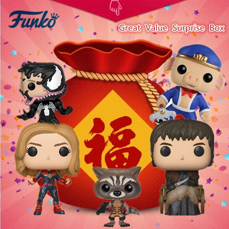 FUNKO POP! Grande valeur boîte Surprise Marvel Avengers DC Justice League Disney vinyle poupée figurine modèle jouets livraison aléatoire
