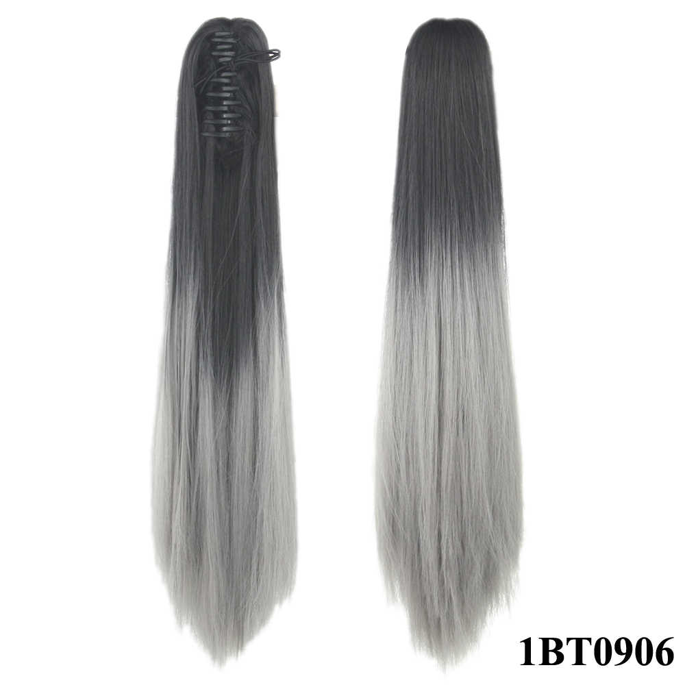 Soowee 24'' Straight Synthetic Hair Clip In Hair Extension Red Pink Claw Ponytail Hairpieces Pony Fairy Tail Queue De Cheval