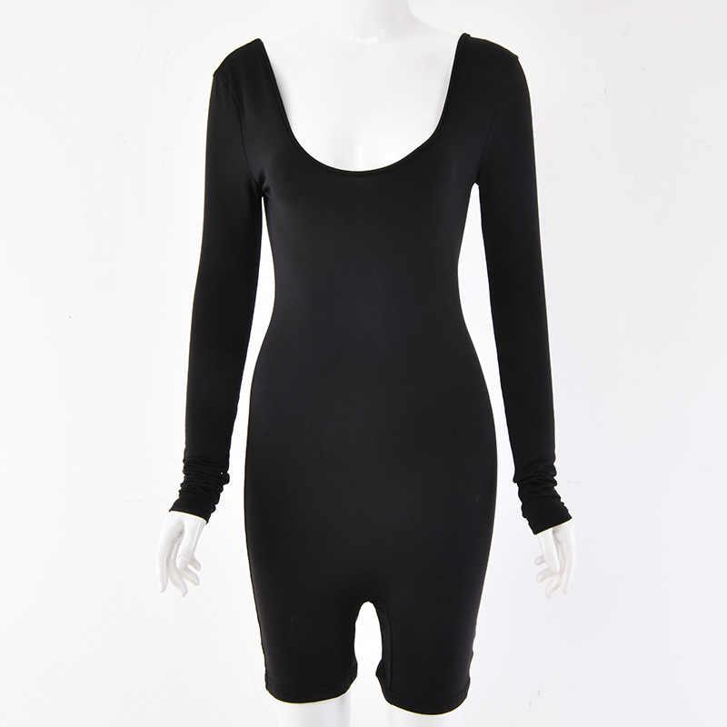 Криптографический сплошной длинный рукав сексуальные костюмы пляжного типа с открытой спиной Новая мода тело повседневный комбинезон женские комбинезоны эластичный уличная