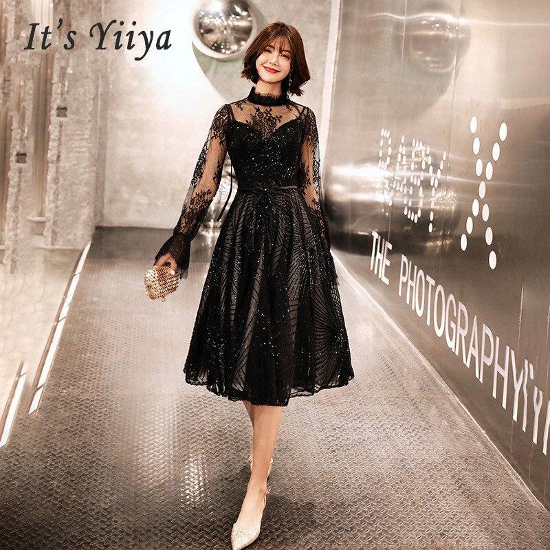 It's Yiiya Prom Dresses Lace Long Plus Size 2019 Slim O-neck Hollow Dresses Women Party Night Full Sleeve Vestidos De Gala E570