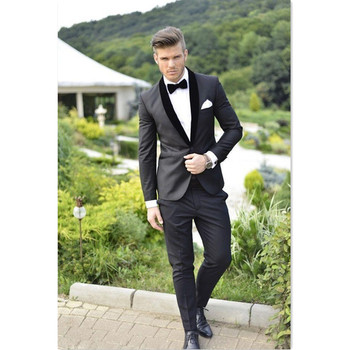 Fashion Men Suit Set 2019 Slim Fit Mens Suits With Pants (Jacket+Pants) Wedding Party Prom Blazers Groom Best Man Tuxedos Homme