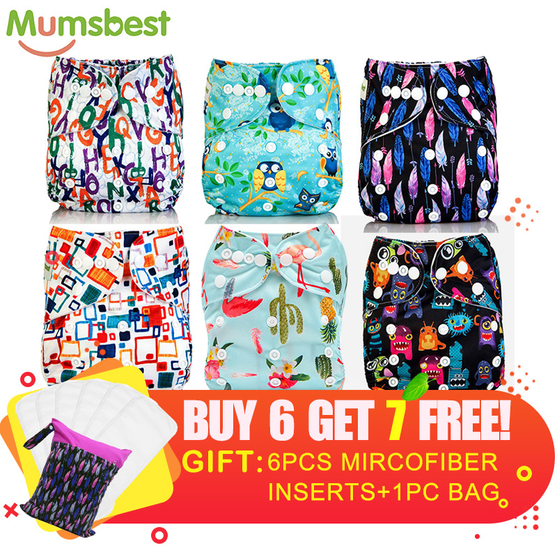 [Mumsbest] New Design Baby Cloth Diaper Pack Sale 6pcs Diapers + 6Pcs Microfiber Insert+ 1pc Wet Nappy Bag Baby Care Lot Sale