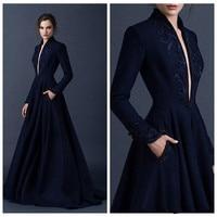 Custom Made Navy Blue Embroidery Satin Dresses for Wedding Vestido Noiva Praia Casamento Long V neck Evening Fromal Prom Gowns