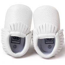 ROMIRUS Moccasins Moccs Tassels Newborn Baby Girl Shoes PU Leather Soft Bottom For Kids Boys Toddler Infant Shoes – White