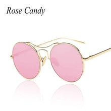 Dulces de rosa Mujeres de La Moda Rosa Ojo de Gato gafas de Sol de Espejo Redondo Recubrimiento del marco del Metal de la vendimia gafas de sol Proteger Los Ojos Del Sol gafas
