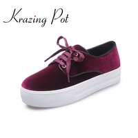 New Fashion Brand Shoes Flat Platform Velvet Round Toe Increased Lace Up Casual Women Shoes High