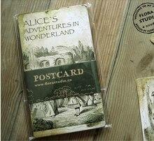 6 zestawów/partia styl Vintage alicja przygoda w krainie czarów kartka z życzeniami pocztówki urodziny Bussiness zestaw kart do prezentów kartka z wiadomością