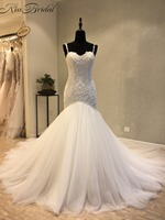 New Design Mermaid Wedding Dresses 2018 Sweetheart Sleeveless Court Train Applications Tulle Wedding Gowns Vestido De