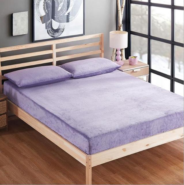 Purple Pink Blue Flannel Thicker Fitted Sheet Protector Twin Full Queen  Size Bed Sheet Queen Mattress