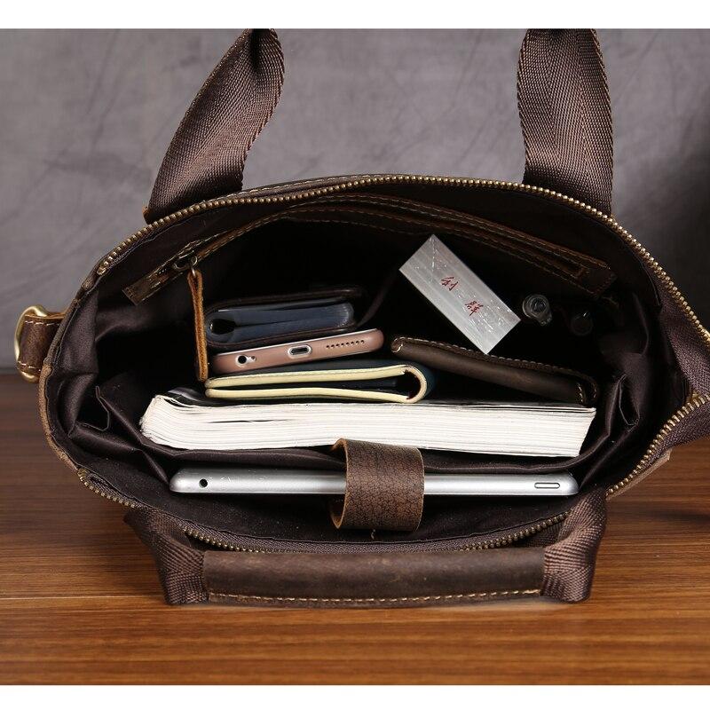 Männer Handtasche Vintage Echtes Leder Crazy Horse Handtaschen Aktentasche Schulter Umhängetasche Messenger iPad Tasche für Mann 5803 auf   3